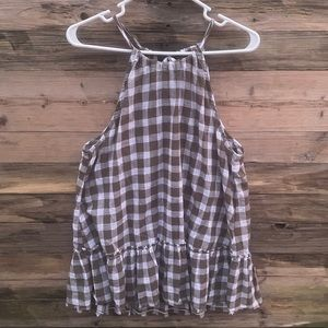 BELLA DAHL | Anthro Green Gingham Plaid Halter Top